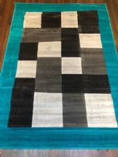 NEW MODERN BLOCK DESIGN RUGS TEAL 115X165CM 6FTX4FT APPROX LUXURY QUALITY MATS